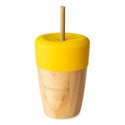 Vaso con pajita de bambú Amarillo