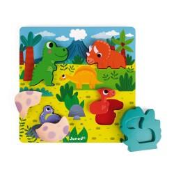 Puzzle encajar madera dinosaurios